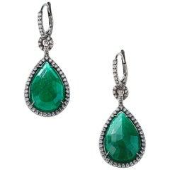 Nina Runsdorf Blackened Gold 17.65 Carat Emerald Rose Cut Drop Earrings