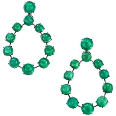 Nina Runsdorf Blackened Gold 71.77 Carat Emerald Cabochon Frontal Hoop Earrings