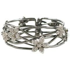 Blackened Gold and Diamond Flower Bracelet