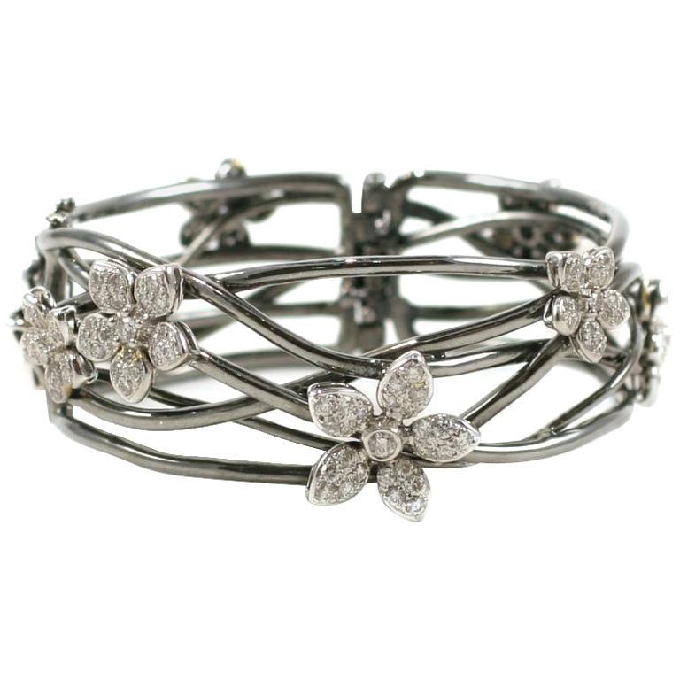 Blackened Gold and Diamond Flower Bracelet For Sale