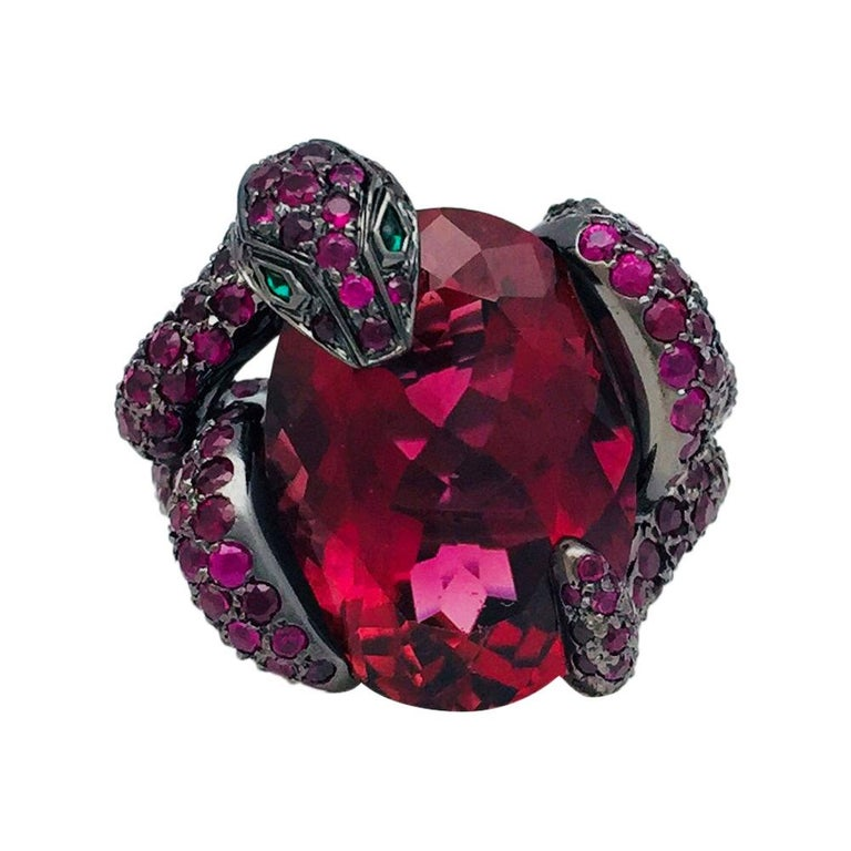 Blackened Gold Boucheron Ring, Pythie Collection, Set with a Gorgeous Rubellite For Sale