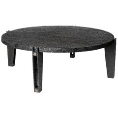 Blackened Gouged Wood Coffee Table, Contemporary Work