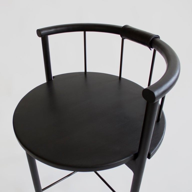 Modern Blackened Oak Barrel-Backed Dining Chair, Brass or Bronze Rungs, Leather Grip For Sale