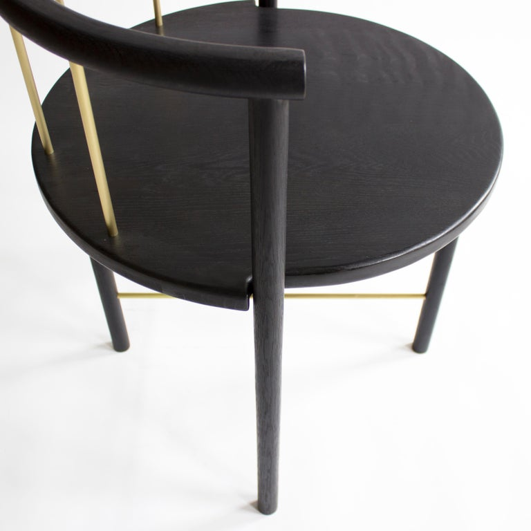 American Blackened Oak Barrel-Backed Dining Chair, Brass or Bronze Rungs, Leather Grip For Sale