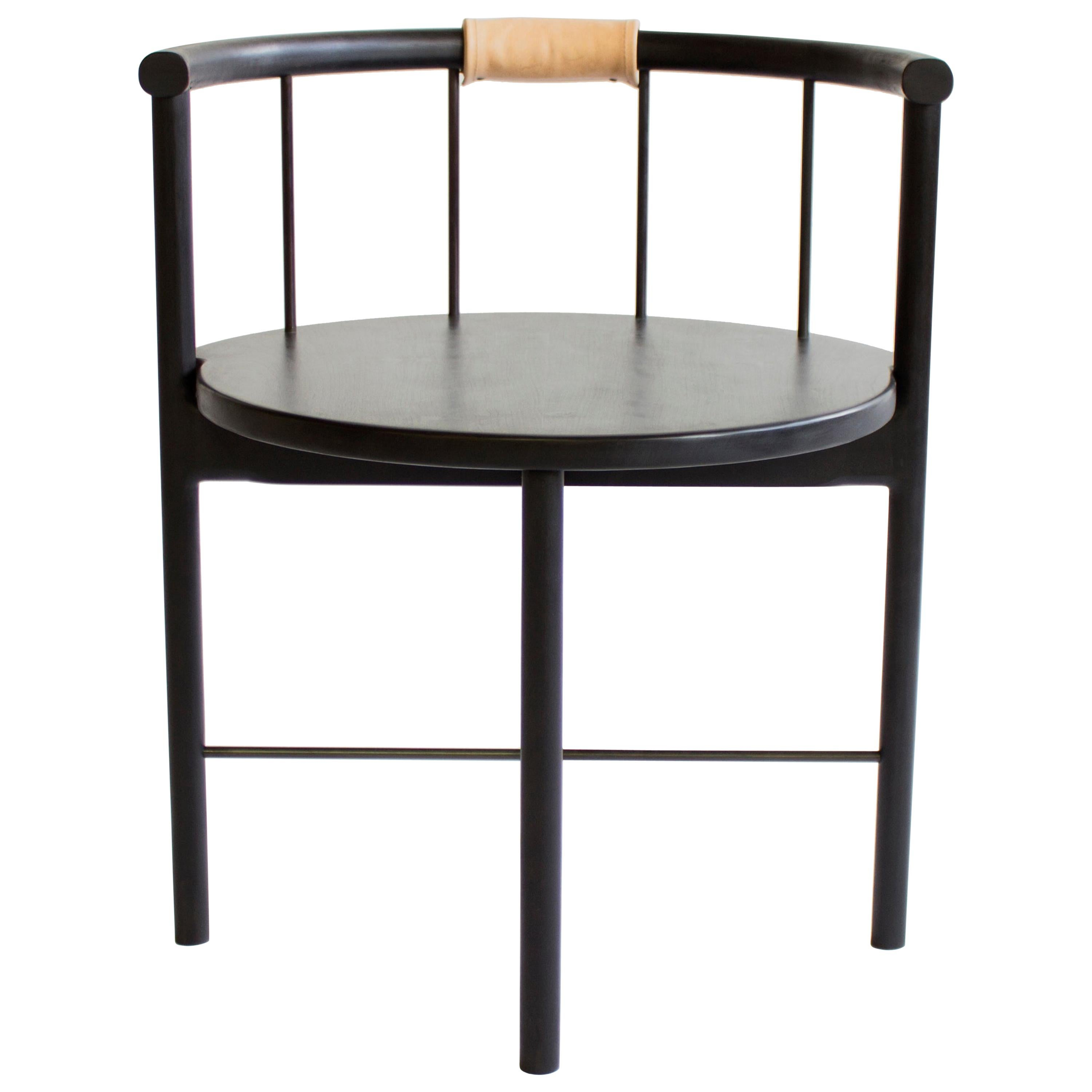Blackened Oak Barrel-Backed Dining Chair, Brass or Bronze Rungs, Leather Grip