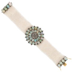 Blackened Silver, Opal, Seed Pearl and Diamond Mesh Bracelet