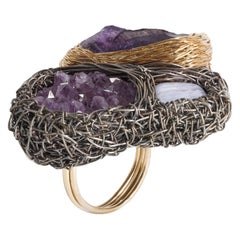 Blackened Silver Raw Amethyst Calcedony Cocktail Ring by Sheila Westera London