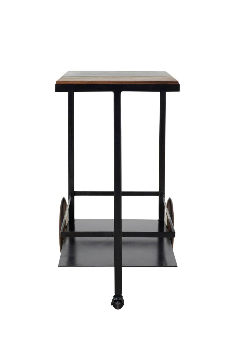 Blackened Steel, Cast-Concrete and Solid Walnut Wood Handsome Bar Cart For Sale 8