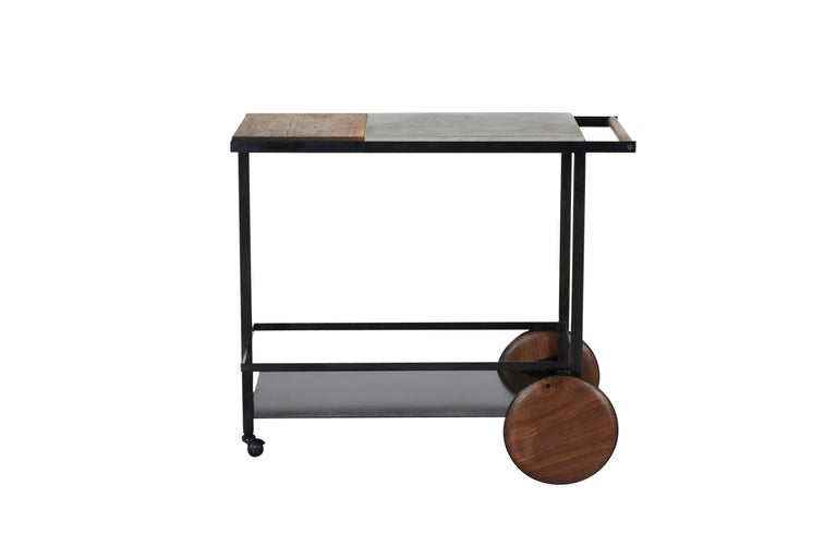 Blackened Steel, Cast-Concrete and Solid Walnut Wood Handsome Bar Cart For Sale 9