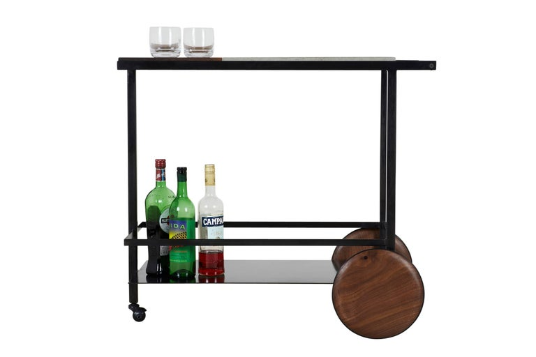 Modern Blackened Steel, Cast-Concrete and Solid Walnut Wood Handsome Bar Cart For Sale