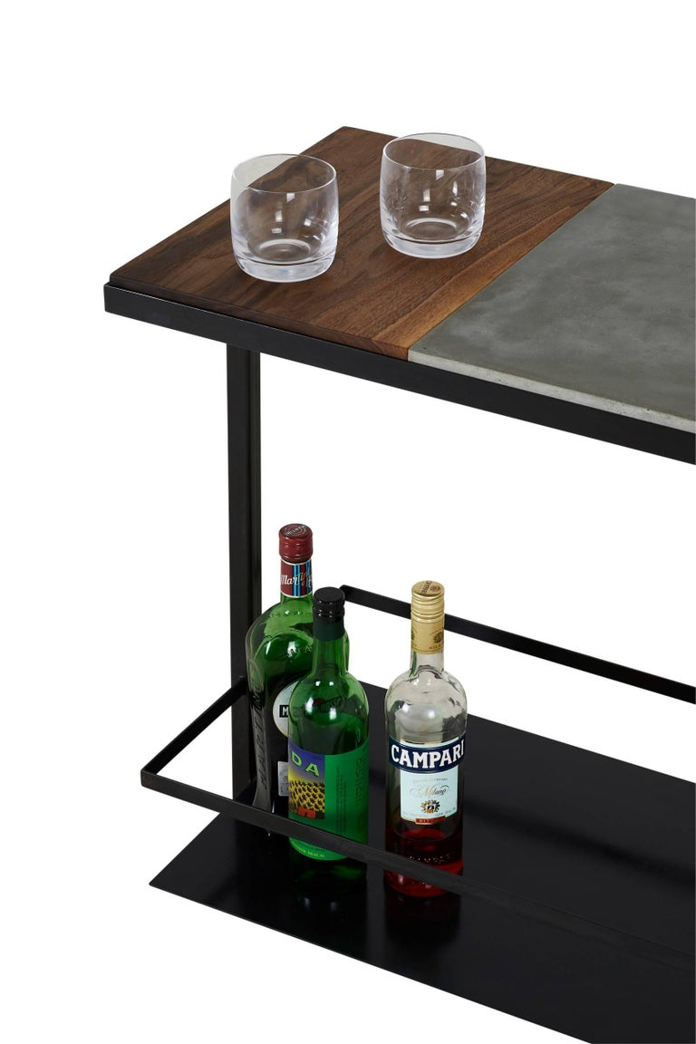 American Blackened Steel, Cast-Concrete and Solid Walnut Wood Handsome Bar Cart For Sale