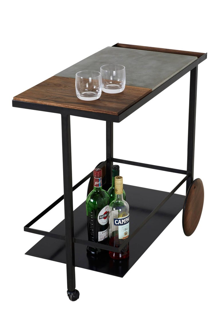 Blackened Steel, Cast-Concrete and Solid Walnut Wood Handsome Bar Cart In New Condition For Sale In Brooklyn, NY
