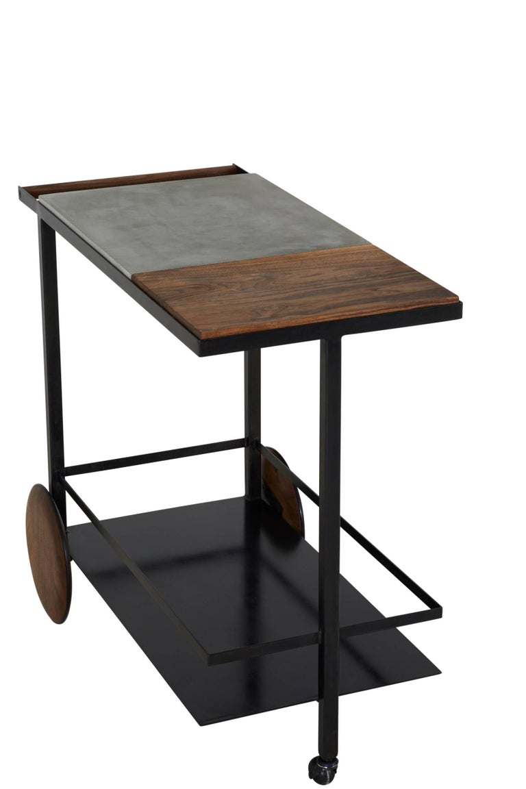 Contemporary Blackened Steel, Cast-Concrete and Solid Walnut Wood Handsome Bar Cart For Sale