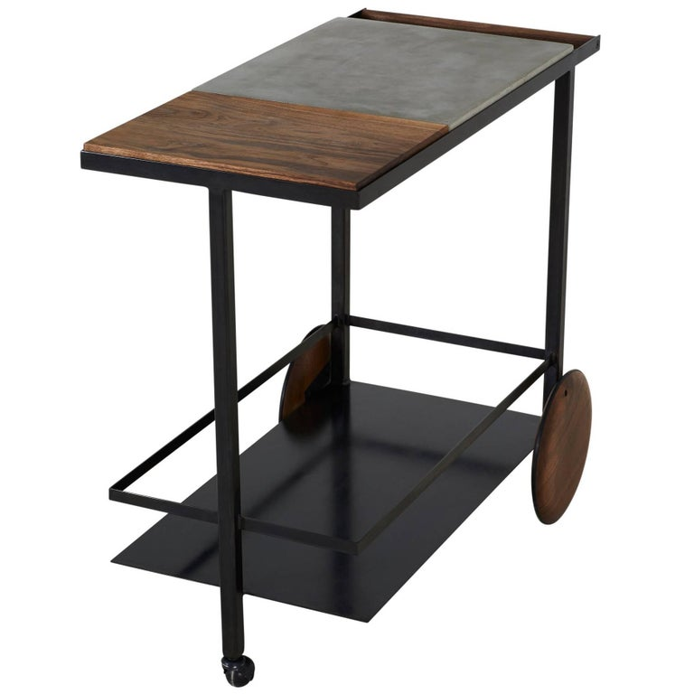 Blackened Steel, Cast-Concrete and Solid Walnut Wood Handsome Bar Cart For Sale