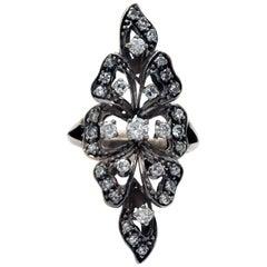 Blackened 18 Karat Gold and Diamond Long Ring