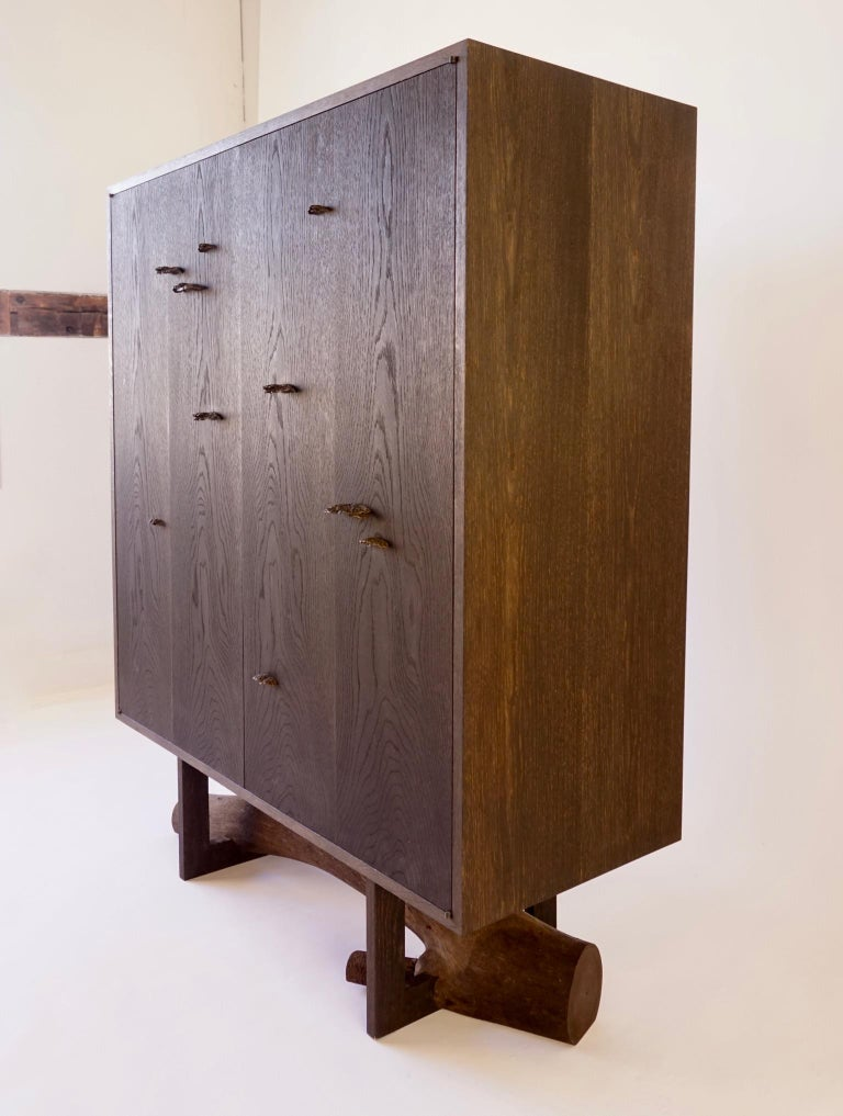 Blackened White Oak Elm Branch Armoire by Chris Lehrecke, Bronze Mushroom Pulls For Sale 1