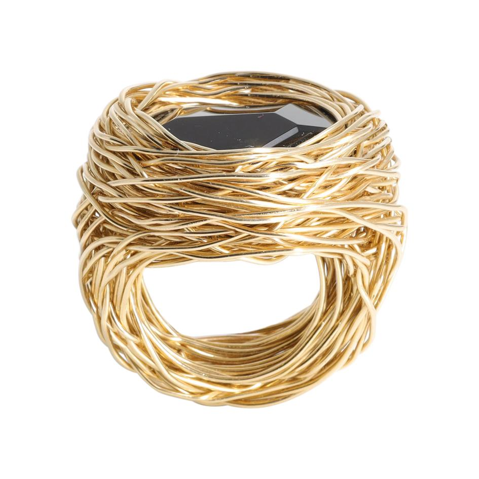 Blackest Natural Agate Gold Statement Cocktail Ring by Sheila Westera in Stock