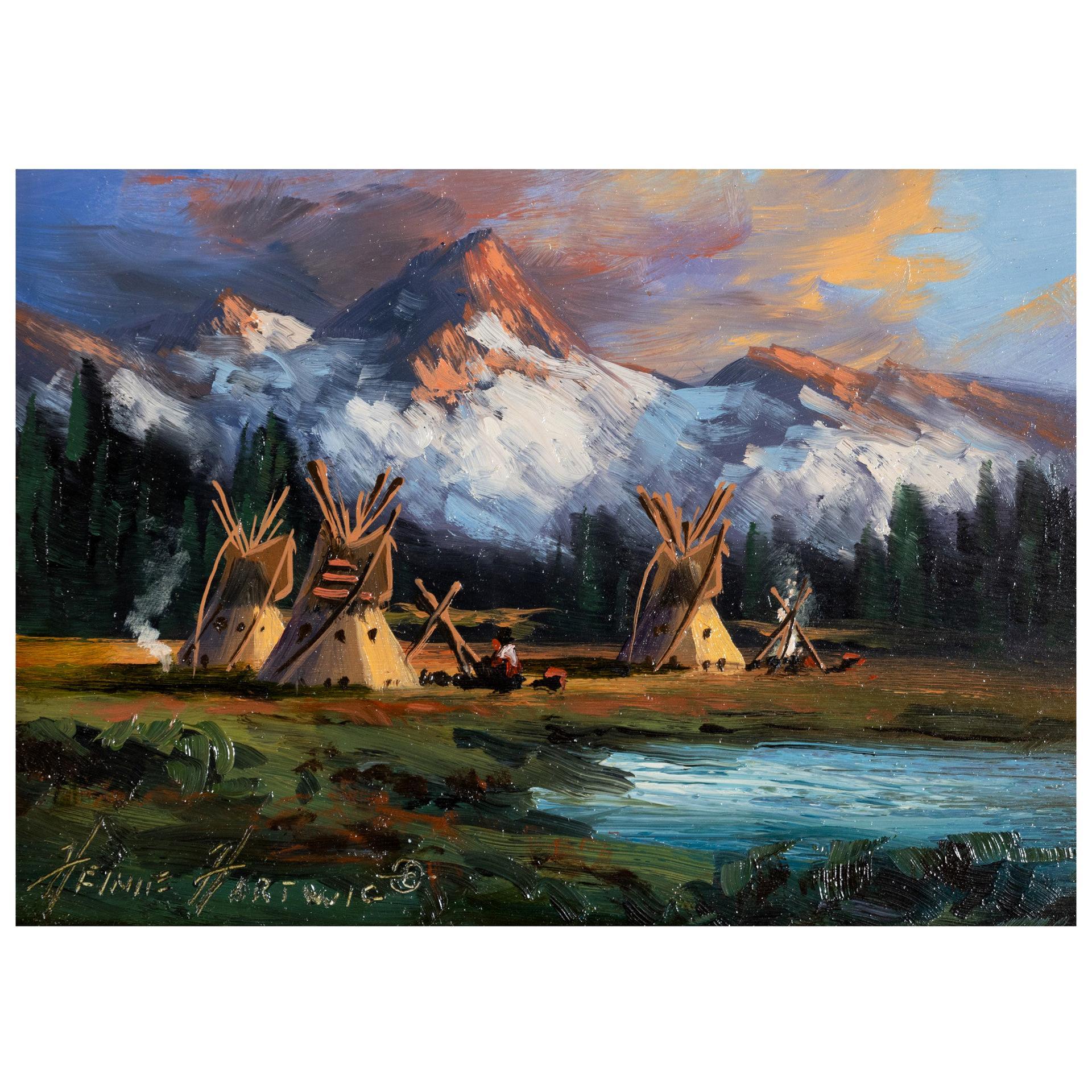 """Blackfeet Camp"" Original Painting by Heinie Hartwig"