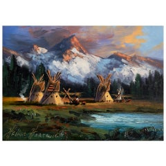"""Blackfeet Camp"" Original Painting by Heinie Hartwig"