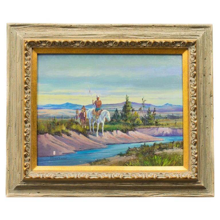 """Blackfeet Patrol"" Original Oil Painting by Ace Powell For Sale"