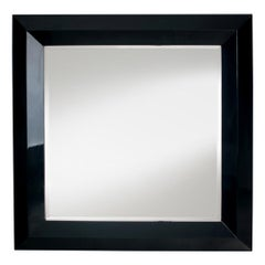 Black Square Mirror in Solid Mahogany Wood