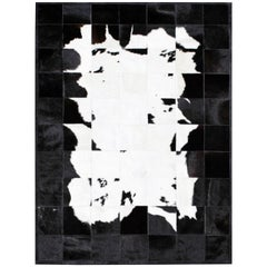 Black&White Bold Graphic customizable Buenos Aires Cowhide Area Floor Rug XLarge