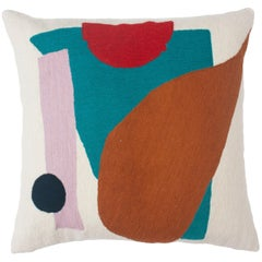 Blah Blah Shapes Hand Embroidered Modern Geometric Throw Pillow Cover