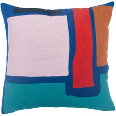 Blah Blah Square Hand Embroidered Modern Geometric Throw Pillow Cover