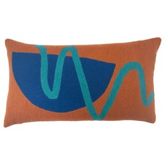 Blah Blah Squiggle Hand Embroidered Modern Geometric Throw Pillow Cover