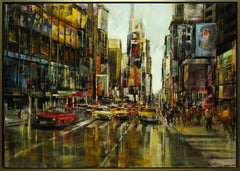 """""""Streetscene"""" by Blai Tomas Ibanez 39 x 55 in. Oil on Canvas"""