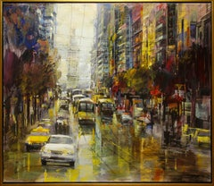 """The City Moves"" by Blai Tomas Ibanez 47 x 55 in. Oil on Canvas"