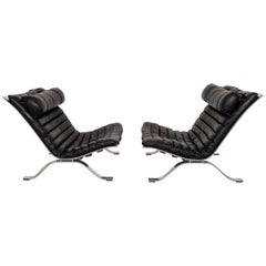Black Leather Pair of Ari Lounge Chairs by Arne Norell