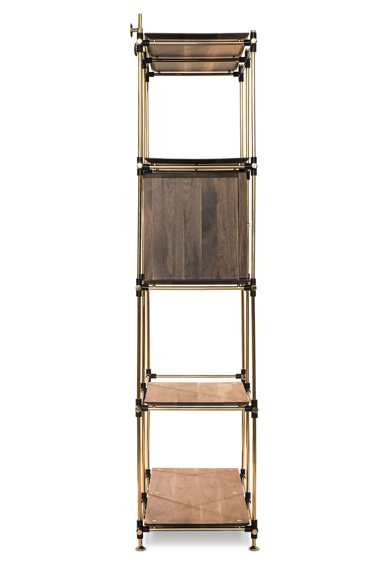 Art Deco Blake Modular Shelf in Brass and Wood by Essential Home For Sale