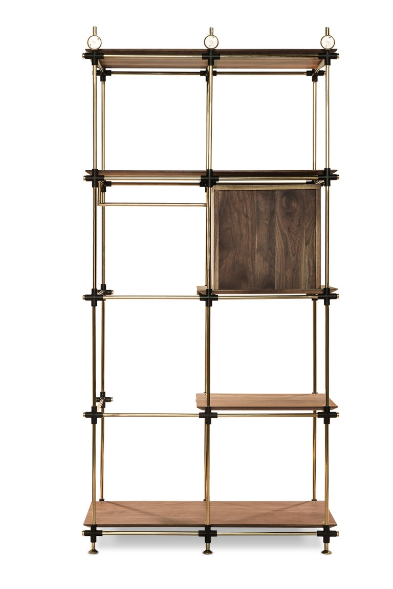 Portuguese Blake Modular Shelf in Brass and Wood by Essential Home For Sale