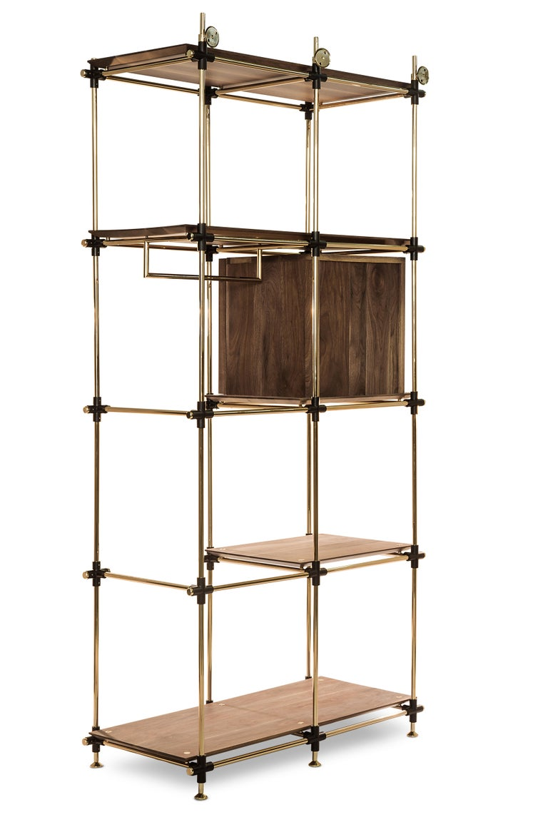 Polished Blake Modular Shelf in Brass and Wood by Essential Home For Sale