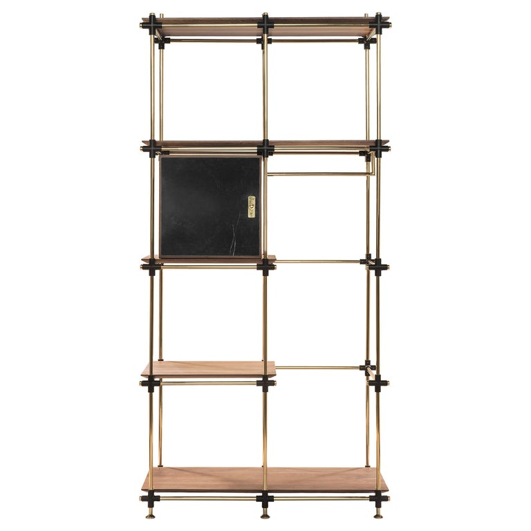 Blake Modular Shelf in Brass and Wood by Essential Home For Sale