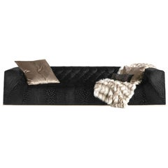 Blake.2 4-Seat Sofa in Black Fabric by Roberto Cavalli