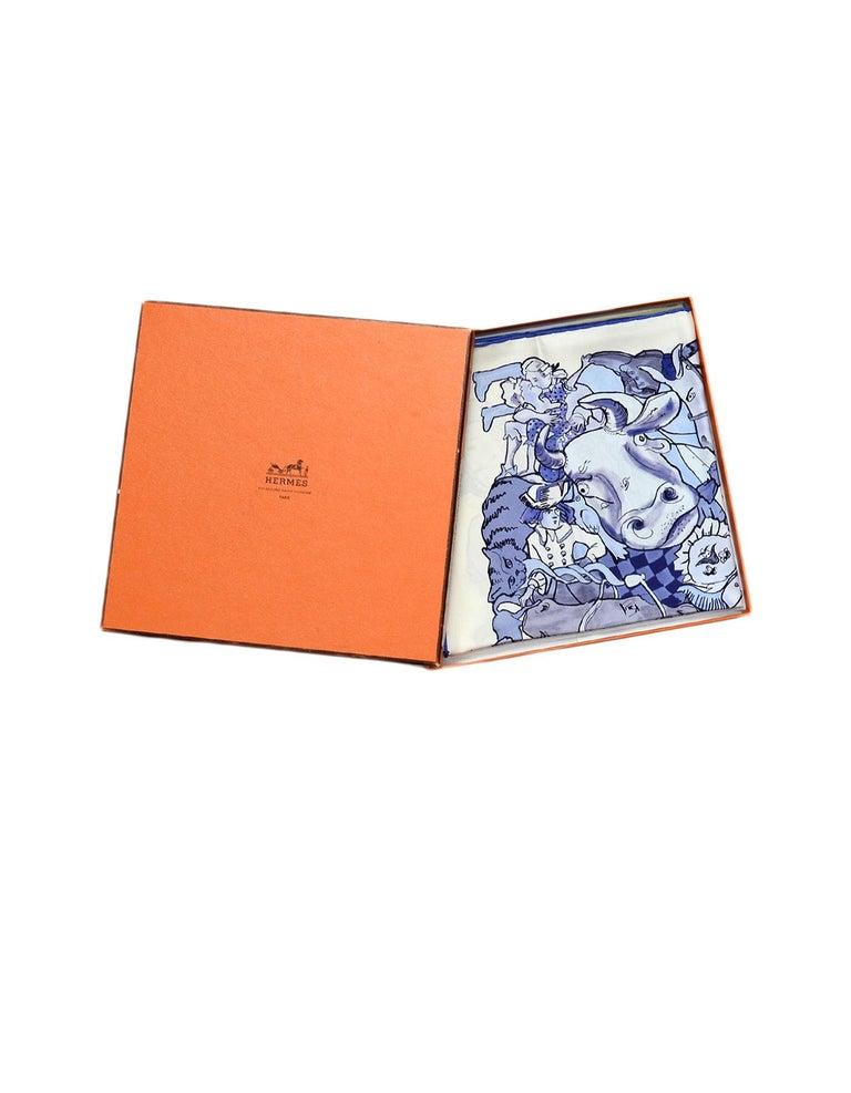 Women's Hermes Blanc/Bleu Methamorphoses Par Hermes Paris by Philippe Dumas Silk Scarf