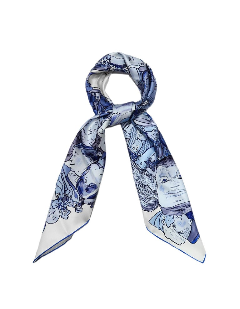 Purple Hermes Blanc/Bleu Methamorphoses Par Hermes Paris by Philippe Dumas Silk Scarf