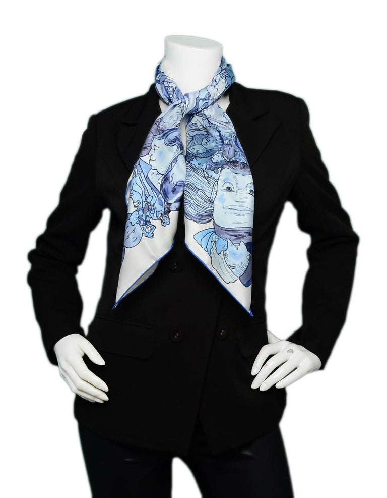 Hermes Blanc/Bleu/Ciel Methamorphoses Par Hermes Paris by Philippe Dumas Silk Scarf  Made In: France Designed By: Phillipe Dumas Color: White, blue Materials: Silk Overall Condition: Excellent pre-owned condition Estimated Retail: $415 +