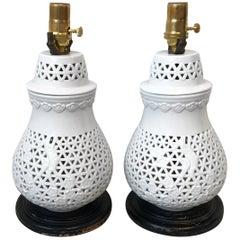 Blanc de Chine Cherry Blossom Motif Lamps, Pair, 1960s