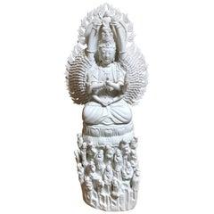 Blanc De Chine Large Quan Yin Porcelain Statue