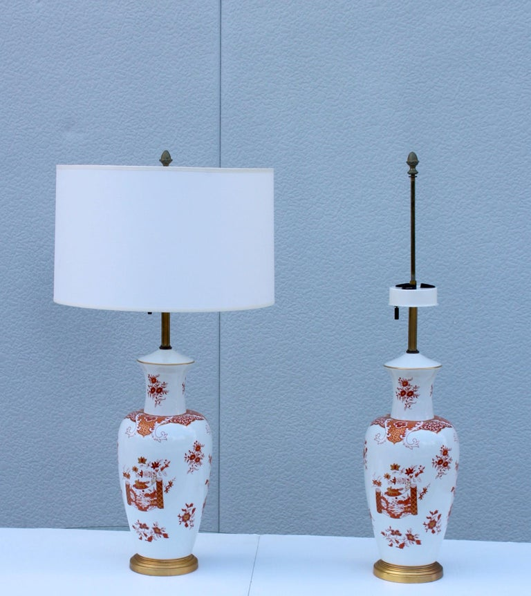Mid-Century Modern Blanc De Chine Large Table Lamps For Sale