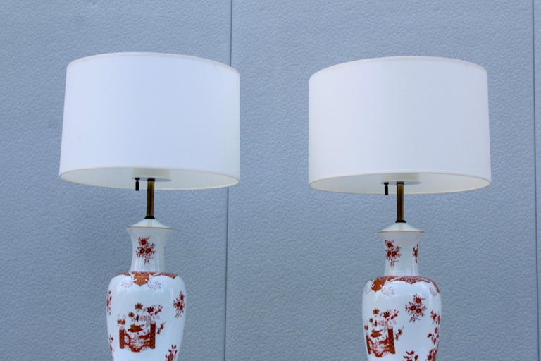 Brass Blanc De Chine Large Table Lamps For Sale