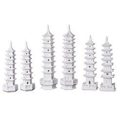 Blanc De Chine Pagodas, Chinoiserie White Porcelain Object of Art, Set of Six