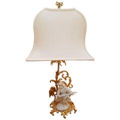 Blanc de Chine Porcelain and 22-Karat Gilt Mounted Chinoiserie Lamp