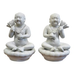 Blanc De Chine Porcelain Pair of Chinese Figures
