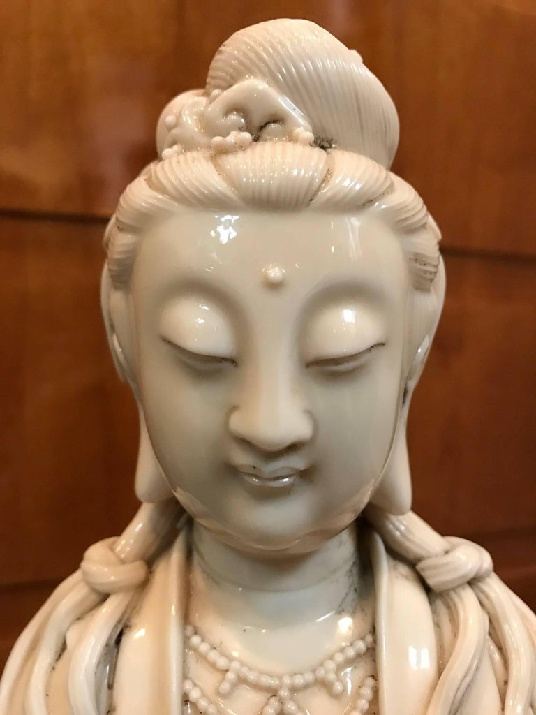 Fine Dehua, Blanc de Chine, Quan Yin Porcelain Figure For Sale 1