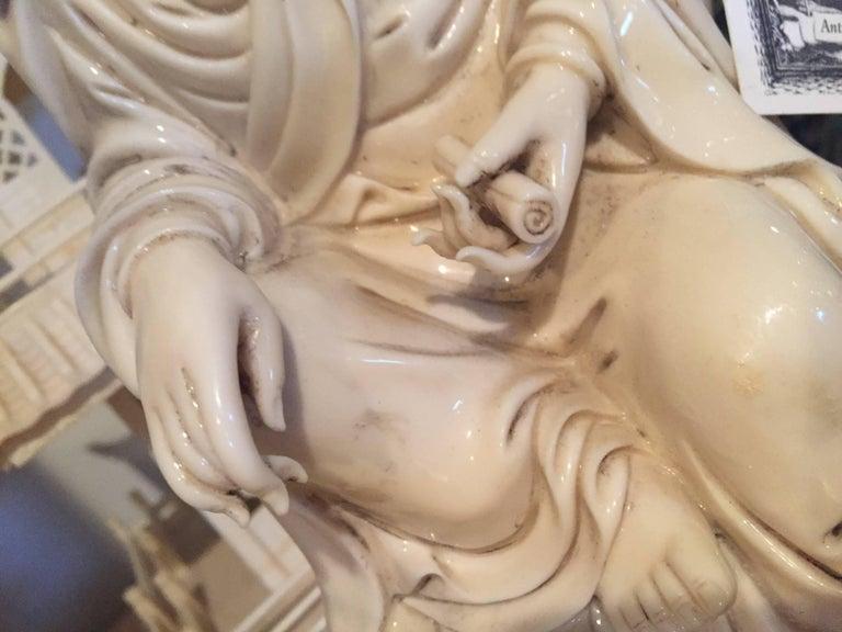 Blanc de Chine Quan Yin with Vase For Sale 5