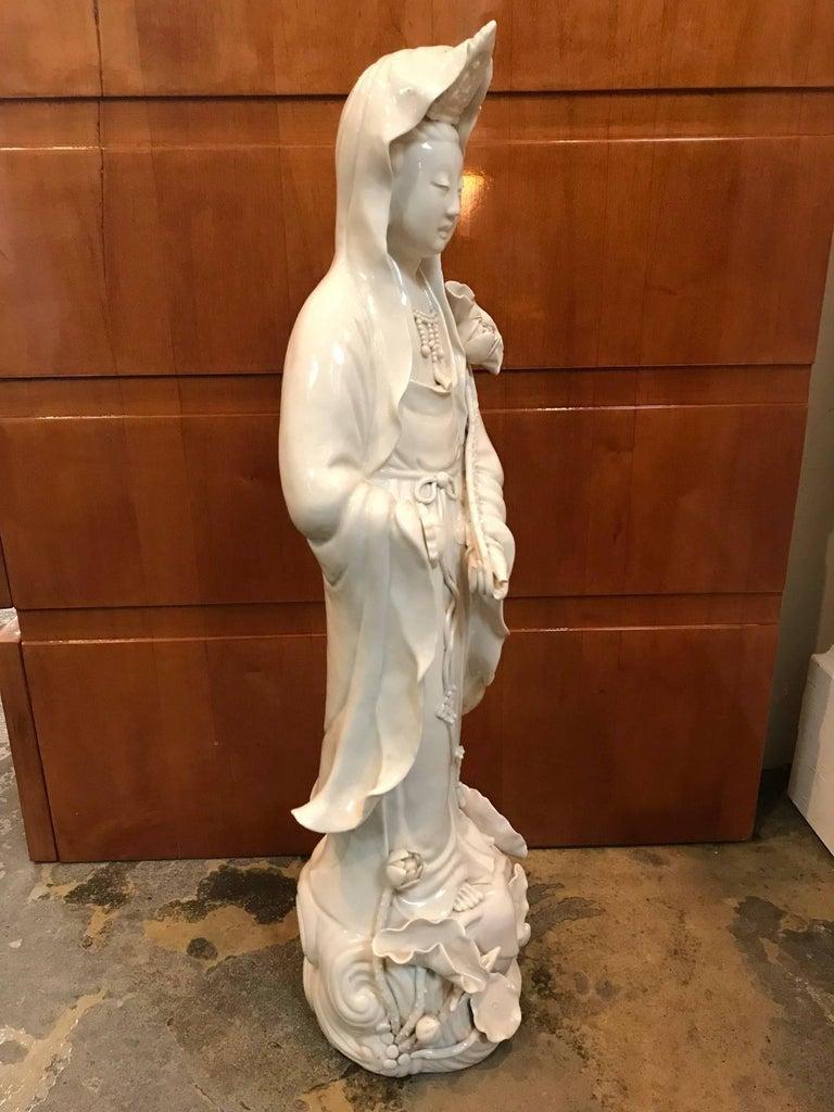 Qing Fine Dehua, Blanc de Chine, Quan Yin Porcelain Figure For Sale